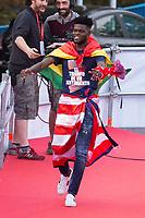 Atletico de Madrid Thomas Partey celebrating Europa League Championship at Neptune Fountain in Madrid, Spain. May 18, 2018. (ALTERPHOTOS/Borja B.Hojas)