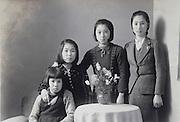 family portrait photo of the children Japan 1950s