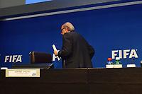 Fotball<br /> Foto: EQ Images/Digitalsport<br /> NORWAY ONLY<br /> <br /> ARCHIV Zuerich, 30.5.2015, Fussball - PK FIFA, Joseph Sepp Blatter spricht einen Tag nach seiner Wiederwahl zum FIFA Praesidenten an einer Medienkonferenz zu den Medien.