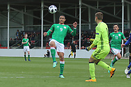 Adam Idah of Republic of Ireland (9) tries to lob Luka Kacavenda of Bosnia and Herzegovina (1) during the UEFA European Under 17 Championship 2018 match between Bosnia and Republic of Ireland at Stadion Bilino Polje, Zenica, Bosnia and Herzegovina on 11 May 2018. Picture by Mick Haynes.