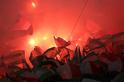 Feyenoord fans let off flares in the stands