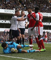 30 April 2017 London : Premier League Football : Tottenham Hotspur v Arsenal :<br /> Olivier Giroud intervenes as Toby Alderweireld of Tottenham and Danny Welbeck of Arsenal clash about a challenge on Tottenham goalkeeper Hugo Lloris.<br /> Photo: Mark Leech