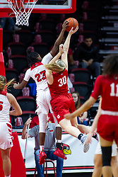 NORMAL, IL - February 07:  Juliunn Redmond rejects a lay up offered by Emily Marsh during a college women's basketball game between the ISU Redbirds and the Braves of Bradley University February 07 2020 at Redbird Arena in Normal, IL. (Photo by Alan Look)