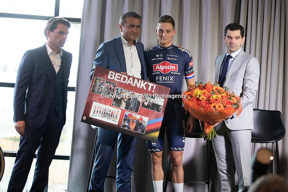 03-01-2020: Wielrennen: Teampresentatie Corendon: Amsterdam<br />Christophe Roodhooft, Atilay Uslu (CO Corendon), Mathieu van der Poel; Philip Roodhooft
