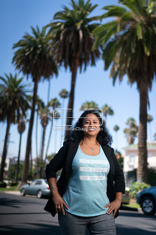 """August 27 2021. Los Angeles, California. <br /> Kidnapping survivor, Gina M. Garcia who was 8-years-old when she was abducted at knifepoint and raped. She managed to jump out of her abductor's car and escape. She is among the 1 percent of kidnapped children who make it home. A feature film about her experience, """"Untold: This Is My Story."""", premieres on September 6th, 2021.<br /> <br /> Photo copyright John Chapple / www.JohnChapple.com"""
