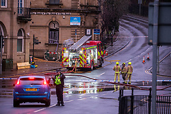 © Licensed to London News Pictures. 07/02/2019. Batley UK. The Fire Brigade at the scene of a suspected gas explosion in Batley. At least five people have been hurt in a suspected gas explosion at a two storey building which is a block of converted flats on Hick Lane in Batley, Yorkshire  Photo credit: Andrew McCaren/LNP