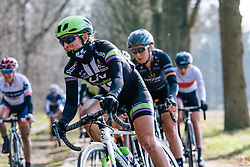 Wrapped up but still splattered in mud, Leah Kirchmann - Ronde van Drenthe 2016, a 138km road race starting and finishing in Hoogeveen, on March 12, 2016 in Drenthe, Netherlands.