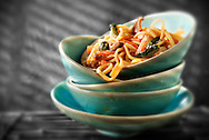 Cooked Chinese Oriental noodles in a bowl