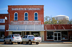 05 February 2015. Monroeville, Alabama.<br /> On the trail of Harper Lee's 'To Kill a Mocking Bird.'<br /> Barnett and Jackson building. The old historic downtown store facades have not changed much over the years.<br /> Photo; Charlie Varley/varleypix.com