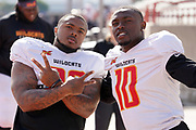 Los Angeles Wildcats running back Martez Carter (28) and receiver Kermit Whitfield (10) pose during practice, Wednesday, Feb. 5, 2020, in Long Beach, Calif. The Wildcats are part of the eight-team XFL, a professional American football league owned by Vince McMahon's Alpha Entertainment, with  headquarters in Stamford, Connecticut. It is the successor to the original XFL, which was controlled by the World Wrestling Federation (WWF, now WWE)  and NBC, and ran for a single season in 2001.