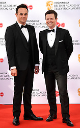 Ant McPartlin and Declan Donnelly attending the Virgin Media BAFTA TV awards, held at the Royal Festival Hall in London. Photo credit should read: Doug Peters/EMPICS