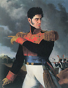 Antonio López de Santa Anna (1794-1876) Mexican soldier and political leader.  In 1822 he declared his loyalty to Augustin de Iturbide and the Republican movement. President of Mexico seven non-consecutive times in 22 years beginning in 1833. Painting of Santa Anna in military uniform with battle in background.
