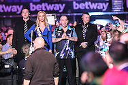 Phil Taylor awaits for his walk on during the Betway Premier League Darts Play-Offs at the O2 Arena, London, United Kingdom on 19 May 2016. Photo by Shane Healey.