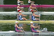 2004 FISA World Cup Regatta Lucerne Switzerland. 18.06.04..Photo Peter Spurrier.Start of the first heat of the Women's pair. Britain's [ Blue/White Suits] Kath Grainger and Cath Bishop, move off, and going on to gain a place in Sat's semi-final. Rowing Course, Lake Rottsee, Lucerne, SWITZERLAND. [Mandatory Credit: Peter Spurrier: Intersport Images]