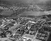 Y-551005-15. Aerial of downtown, Hawthorne Bridge. October 5, 1955.