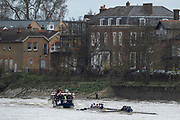 """London. United Kingdom,  Both crews on the """"Chiswick"""" approaching the Brewery, during the 2017. Oxford University, Annual Trial Eights, raced over the Championship Course, Putney to Mortlake. River Thames, <br /> <br /> Wednesday  06/12/2017<br /> <br /> [Mandatory Credit:Peter SPURRIER Intersport Images]<br /> <br /> OUBC Crew Names. <br /> STABLE White Shirts.<br /> Bow. Jonathan Olandi<br /> 2. Charles Buchanan<br /> 3. Will Cahill<br /> 4. Alexander Wythe<br /> 5. William Geffen<br /> 6. Anders Weiss<br /> 7. Iain Mandale<br /> Stroke. Vassilis Ragoussis<br /> Cox. Zachary Thomas Johnson<br /> <br /> STRONG Black Shirts<br /> Bow. Luke Robinson<br /> 2. Angus Forbes<br /> 3. Nicholas Elkington<br /> 4. Benedict Aldous<br /> 5. Tobias Schroder<br /> 6. Joshua Bugajski<br /> 7. Claas Mertens<br /> Stroke. Felix Drinkall<br /> Cox. Anna Carbery"""