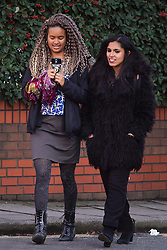 © Licensed to London News Pictures. 17/01/2017. London, UK. NAOMI MABITA (LEFT) AND ADITI JAGANATHAN (RIGHT), seen at lunch break outside Willesden Magistrates Court in west London where she is one of nine people charged with wilfully obstructing the highway at Heathrow Airport. A group of protesters supporting the Black Lives Matter group blocked the M4 spur road to Heathrow Airport in August last year. Photo credit: Ben Cawthra/LNP