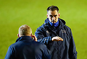 Sale Sharks Director of Rugby Alex Sanderson talks with  forwards coach Dorian West as he watches the players warm up during a Gallagher Premiership Round 7 Rugby Union match, Friday, Jan. 29, 2021, in Leicester, United Kingdom. (Steve Flynn/Image of Sport)