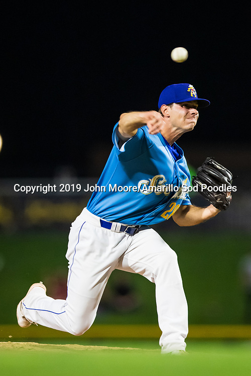 Amarillo Sod Poodles pitcher Elliot Ashbeck (28) pitches against the Tulsa Drillers during the Texas League Championship on Tuesday, Sept. 10, 2019, at HODGETOWN in Amarillo, Texas. [Photo by John Moore/Amarillo Sod Poodles]