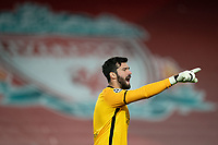 Football - 2020 / 2021 Champions League - Group D - Liverpool vs Atalanta - Anfield<br /> <br /> <br /> Liverpool's Alisson Becker in action during todays match  <br /> <br /> <br /> COLORSPORT/TERRY DONNELLY