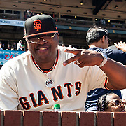 June 27 2021 San Francisco CA, U.S.A. Bay Area recording artist and producer E-40 hanging with the fans during the MLB game between the Oakland Athletics and the San Francisco Giants at Oracle Park San Francisco Calif. Thurman James / CSM
