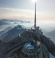 Aerial View of Swiss Mountain Peak in Alpstein, Switzerland