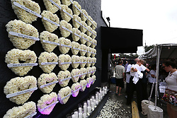 June 12, 2017 - Orlando, FL, USA - A wall of flowered hearts on the side of the Pulse nightclub, Monday, June 12, 2017, commemorates the one-year anniversary of the June 12, 2016, massacre that killed 49 at Pulse in Orlando, Fla. (Credit Image: © Joe Burbank/TNS via ZUMA Wire)
