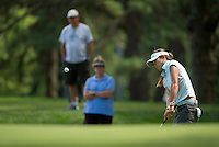 Jean Chua chips onto the 6th green at Beaver Meadow Golf Course Friday afternoon during the LPGA Symetra Tour.  (Karen Bobotas/for the Concord Monitor)