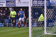 Portsmouth Forward, Brett Pitman (8) celebrates after scoring a goal 2-1 during the EFL Sky Bet League 1 match between Portsmouth and Wycombe Wanderers at Fratton Park, Portsmouth, England on 22 September 2018.