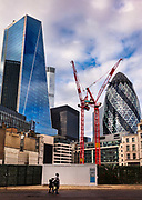 View of the Leadenhall Building and the Gherkin soaring over a new development on Fenchurch Street during the second national coronavirus lockdown on 8th November 2020 in London, United Kingdom. The new national lockdown is a huge blow to the economy and for individuals who were already struggling, as Covid-19 restrictions are put in place until 2nd December across England, with all non-essential businesses closed.