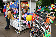Kiosk selling toy guns, flags, etc. in Gorky Park, Moscow, Russia.