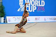 Serdyukova Anastasiya during qualifying hoop at the Pesaro World Cup April 1, 2016. Anastasiya is an Azerbaijani individual rhythmic gymnast, she was born in May 29, 1997 Tashkent, Uzbekistan.  Her goal is to compete at the 2020 Olympic Games in Tokyo.