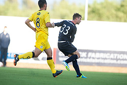Falkirk's Rory Loy scoring their second goal.<br /> Falkirk 2 v 1 Queen of the South, Scottish Championship 5/10/2013.<br /> ©Michael Schofield.
