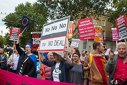 London, UK. 2 September, 2019. Hundreds of people shout 'Stop the Coup' in Whitehall as Prime Minister Boris Johnson makes an address to the nation outside 10 Downing Street to the effect that there will be a vote on a general election if MPs vote for a further delay to Brexit.