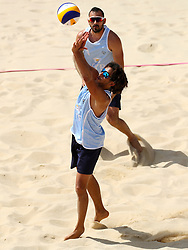 Cyprus' Georgios Chrysostomou in action during the Men Preliminary - Pool C Beach Volleyball match at Coolangatta Beachfront during day two of the 2018 Commonwealth Games in the Gold Coast, Australia.