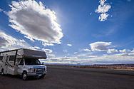 Hwy 95, Bicentennial Highway, south of Hanksville, Utah, Winnebago Motor Home, storm clouds
