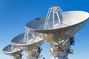 Radio telescope microwave parabolic dish antennas at CSIRO Australia Telescope Compact Array in Narrabri, New South Wales, Australia.<br />