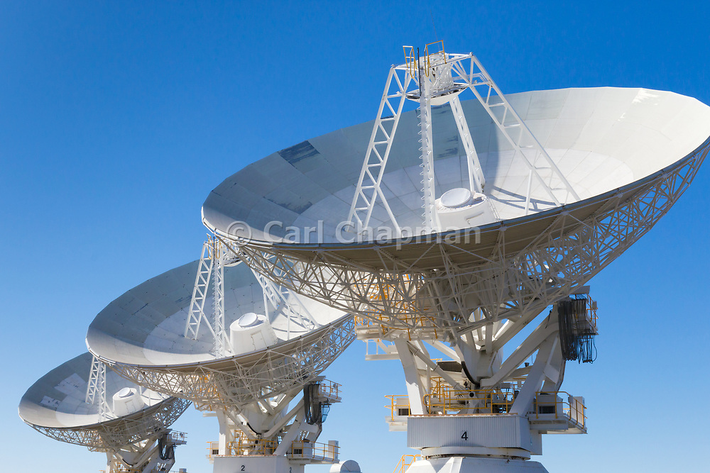 Radio telescope microwave parabolic dish antennas at CSIRO Australia Telescope Compact Array in Narrabri, New South Wales, Australia.<br /> <br /> Editions:- Open Edition Print / Stock Image