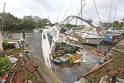 One of eight sunken boats at Sundance Marine in Palm Shores, Fla. on Monday, September 11, 2017. Debris from sunken boats and docks washed over the seawall onto the land as Hurricane Irma winds blew from the east. Photo by Orlando Sentinel/TNS/ABACAPRESS.COM