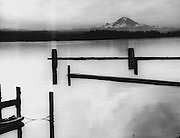 Empty mooring spaces contrasted sharply with the glassy waters of Lake Washington in this view to the southeast from Leschi Park. (Josef Scaylea / The Seattle Times, 1968)