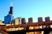 View of downtown through the El.  Chicago Illinois USA