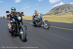 Ride with Antonia Evenstar Armenta and her extended family during the Sturgis Motorcycle Rally. SD, USA. Saturday, August 14, 2021. Photography ©2021 Michael Lichter.