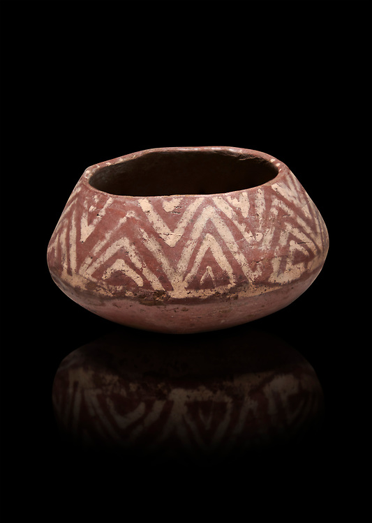 Ancient Egyptian decorated mari ware, class D, baked clay, Predynastic Period, Naqada II Protodynastic Period (3700-300 BC). Egyptian Museum, Turin. Black background,<br /> <br /> Mari was a new raw material used to make vases from Naqada II onwards. The material was a marl of rich clay found in some ancient Egyptian desert site which was pulverised and mixed with water. Typically the pottery had a rosy sinish when fired making a good background for painted motifs. .<br /> <br /> If you prefer to buy from our ALAMY PHOTO LIBRARY  Collection visit : https://www.alamy.com/portfolio/paul-williams-funkystock/ancient-egyptian-art-artefacts.html  . Type -   Turin   - into the LOWER SEARCH WITHIN GALLERY box. Refine search by adding background colour, subject etc<br /> <br /> Visit our ANCIENT WORLD PHOTO COLLECTIONS for more photos to download or buy as wall art prints https://funkystock.photoshelter.com/gallery-collection/Ancient-World-Art-Antiquities-Historic-Sites-Pictures-Images-of/C00006u26yqSkDOM