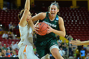 March 18, 2016; Tempe, Ariz;  Green Bay Phoenix guard Allie LeClaire (24) drives past Tennessee Lady Volunteers guard Alexa Middleton (33) during a game between No. 7 Tennessee Lady Volunteers and No. 10 Green Bay Phoenix in the first round of the 2016 NCAA Division I Women's Basketball Championship in Tempe, Ariz.