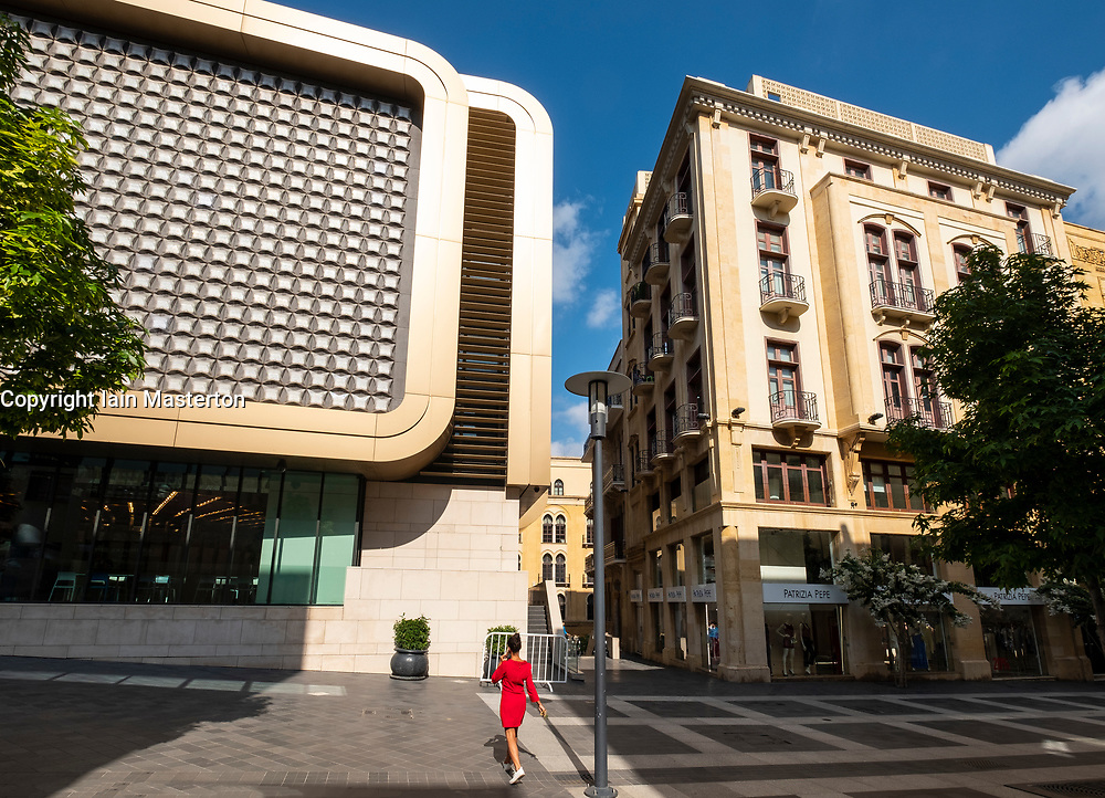 Contrast of new and old architecture at  Beirut Souks retail development in Downtown Beirut, Lebanon