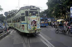 August 4, 2017 - Kolkata, West Bengal, India - A tram was decorated with picture of legendary singer and actor Kishore Kumar on the occasion of birth anniversary moves various parts of the city. (Credit Image: © Saikat Paul/Pacific Press via ZUMA Wire)