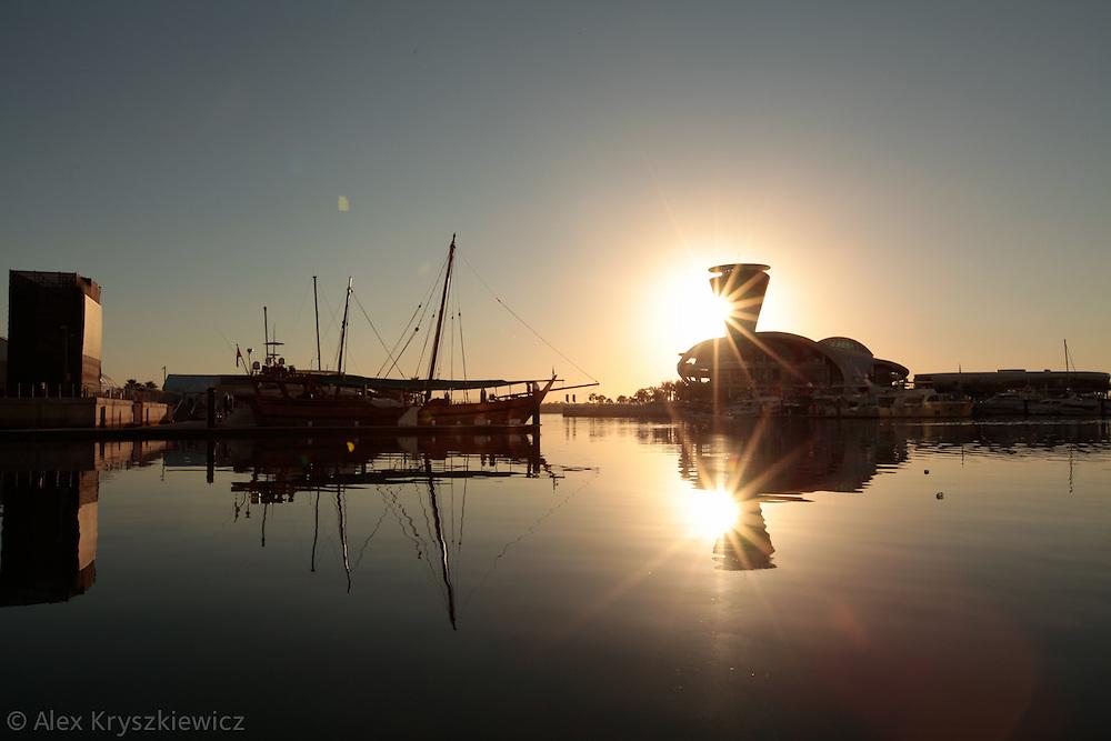 Yas Marina, Abu Dhabi sunrise over the marina.