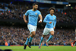 21st October 2017 - Premier League - Manchester City v Burnley - Sergio Aguero of Man City celebrates after scoring their 1st goal - Photo: Simon Stacpoole / Offside.