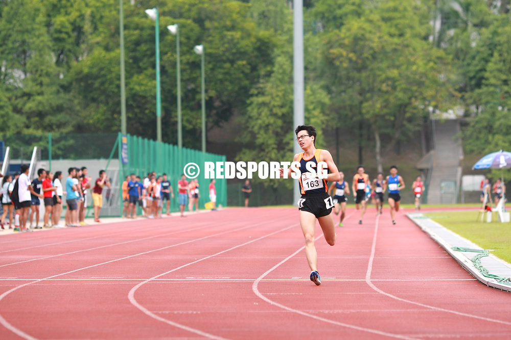 Singapore Polytechnic, Saturday, January 18, 2014 — Fang Jianyong of the Singapore Institute of Management (SIM) once again produced an impressive front-running performance to clinch the 1500m gold. This win cemented his status as the middle distance king of this edition of the Institute-Varsity-Polytechnic (IVP) Track and Field Championships.<br /> <br /> N.B. Photos will be deleted after a month to make space for newer events.