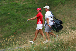 July 14, 2018 - Sylvania, Ohio, United States - Celine Herbin of Avranches, France walks with her caddy to the 2nd green during the third round of the Marathon LPGA Classic golf tournament at Highland Meadows Golf Club in Sylvania, Ohio USA, on Saturday, July 14, 2018. (Credit Image: © Amy Lemus/NurPhoto via ZUMA Press)